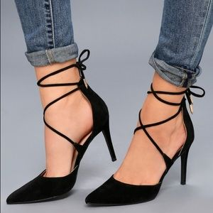 Black Suede lace up heels